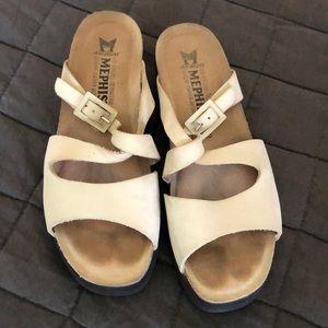 Mephisto cream slide sandals, size 38